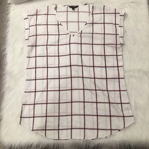 Express White Panel Plaid Stripped Blouse